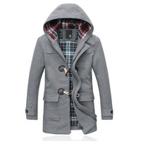 Men Wool Toggle Duffle Coat