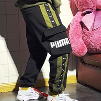 PUMA Autumn And Winter High Quality Fashion New Letter Print String Mark Thick Keep Warm Women Men Pants Black