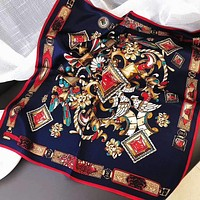 Woman Casual Fashion Personality Print Spell Color Double Sided Square Pattern Mulberry Silk Scarf