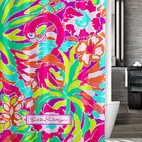 "New Lilly Pulitzer Colorful Flamingo Custom Shower Curtain 60"" x 72"""