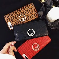 Fendi New fashion more letter envelope card couple protective cover phone case