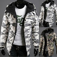 2016 Winter jacket men cotton coat new Korean Slim camouflage jacket mens plus size coats