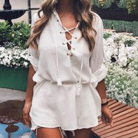Fashion V-neck Short Front and Back Long and Loose Air-Eye Beach Skirt Spring and Summer Shirt Women