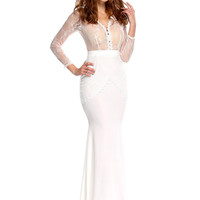 White Lace Embroidered V-Neck Long Sleeve Fishtail Bodycon Maxi Dress