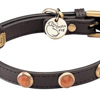'Pebbies' Faceted Gold Sand Stone on Brown Leather Dog Collar