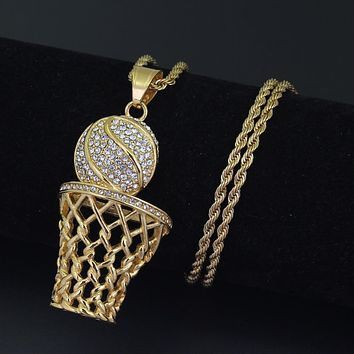 Fashion Hip-hop Basketball Frame Men Necklace Zircon Gold / Silver Color Pendant Steel Necklace Men Basketball Sports Jewelry
