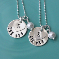 Big Sis Lil Sis Personalized necklace 925 Sterling Silver with custom hand stamped name initial heart bead chain Swarovski pearl sister gift