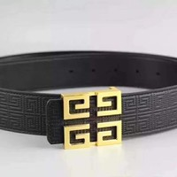 Givenchy first layer leather embossed classic brass buckle belt