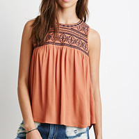 Diamond-Embroidered Peasant Top