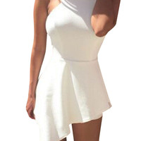 White Irregular Ruffle Trim Slim Fit Playsuit