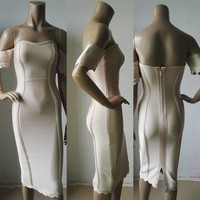 Herve Leger Fashion  Purple Apricot White Lace Bra One Shoulder Bandage Summer Bodycon Dress