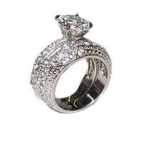 3.20 Ct Cubic Zirconia Cz Wedding Band Ring Set Stainless Steel