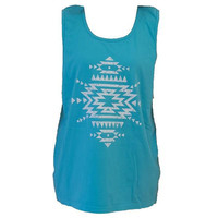 Southern Couture Aztec Tribal Symbol Lagoon Blue Girlie Bright Tank Top Shirt