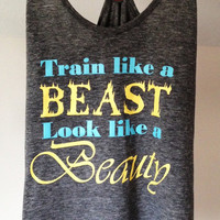 Train Like A Beast Look Like A Beauty Gray Tri-Blend District Threads T-Back Tank Top - Workout Tank - size medium