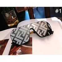 Fendi Tide brand men and women models large frame conjoined frameless letter printing polarized sunglasses #1