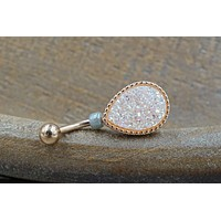 White Druzy Rose Gold Belly Button Ring - Short Belly Button Jewellery