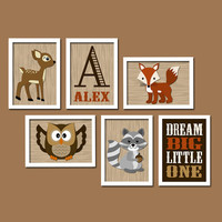 WOODLAND Boy Wall Art Nursery Canvas Artwork Child Dream Big Forest Animal Deer Raccoon FOX Custom Monogram Initial Name Set of 6 Prints