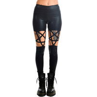 Punk Rock Goth Dark Side Glitter Pentagram Black Leggings