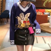 """Dolce & Gabbana"" Women Fashion Multicolor Letter Embroidery Long Sleeve V-Neck Knit Sweater Tops"
