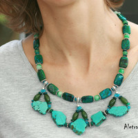 Dark green sea- handmade statement necklace, semi precious stones