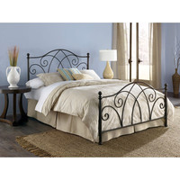 Queen Size Brown Sparkle Metal Bed with Headboard & Footboard