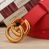 GUCCI  Woman Fashion Smooth Buckle Belt Leather Belt H-A-GFPDPF