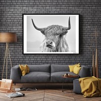 Nordic Portrait of a Highland Cow Posters and Prints Wall Art Canvas Painting Pictures For Living Room Scandinavian Home Decor