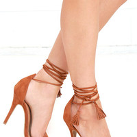 Higher Ground Chestnut Brown Suede Lace-Up Heels