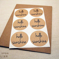 Hello Sunshine Round Stickers Circle Labels 1.5-inch 12ct Envelope Seals Scrapbook Embellishments