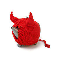 Knit tea cosy red devil horns Halloween novelty tea cozy unique unusual cozies Made to Order