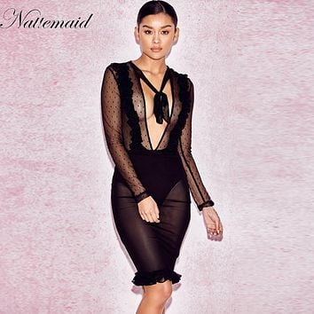 NATTEMAID Commemorative Bell Sleeve Dress  femininos Crochet Floral Lace embroidery dresses Boho People Style Women Sexy Black