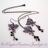 Pewter Butterfly Focal Point Earring & Necklace Set with Rhinestones and Swarovski Beads
