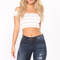 Put Me Together Crop Top - Pink/White