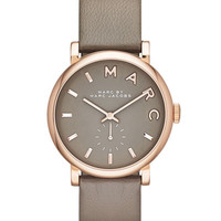 Baker Analog Watch with Leather Strap, Golden/Gray
