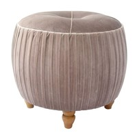 Helena Velvet Small Round Ottoman Natural Wood Legs, Chamoise Taupe