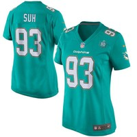 Women's Miami Dolphins Ndamukong Suh Nike Aqua Team Game 2015 NFL Patch Jersey