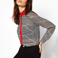 Triangle Striped Chiffon Shirt Collar Long Sleeve Blouse