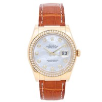 Rolex Yellow Gold Diamond Mother-of-Pearl Datejust Automatic Wristwatch