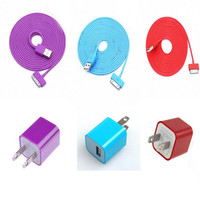 New Total 6pcs/lot! Colouful 3PCS USB Cord with Charger For Iphone 4/4s