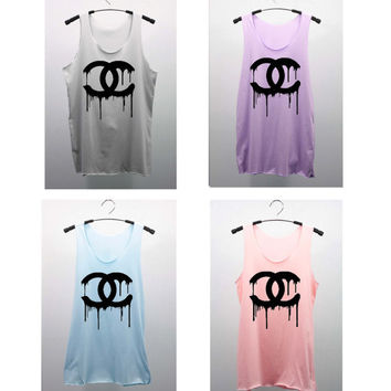 CHANEL Dripping COCO CHANEL Pastel Color Tank Top T Shirts women handmade silk screen printing--Choose--Smoke/ Violet/ Blue/ Pink