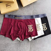 BURBERRY Fashion Men Briefs Comfortable Breathable Cotton Male Underpants Three Piece Set