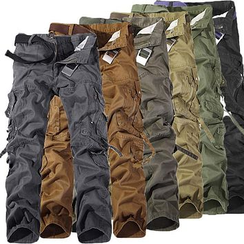 Mens Military Army Cargo Trousers Multi-pocket Skinny Slacks Casual Loose Pants Camouflage Sweatpants Tactical Pants T3
