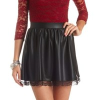 Lace-Trimmed Faux Leather Skater Skirt by Charlotte Russe - Black