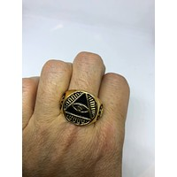 Vintage 1980's Gothic Golden Stainless Steel Illuminati Eye Pyramid Men's Ring