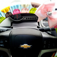 Multi Color Dots Steering Wheel Cover with Bow