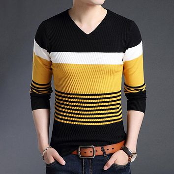 Sweaters Thick Warm Pullover Men Casual Striped V-Neck Sweater Men Clothing Autumn Winter Knitwear Pull Homme