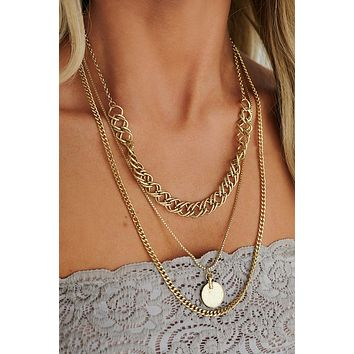 Sunset Evenings Layered Necklace (Antique Gold)