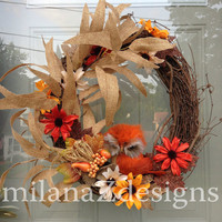 Fall Grapevine Wreath, Autumn Owl Decorations, Orange Cream Brown Floral Door Wreath, Thanksgiving Wall Arrangement, French Country Wreaths