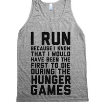 I Run Because Hunger Games-Unisex Athletic Grey Tank