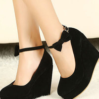 Buckle Shoes Wedges High Heels